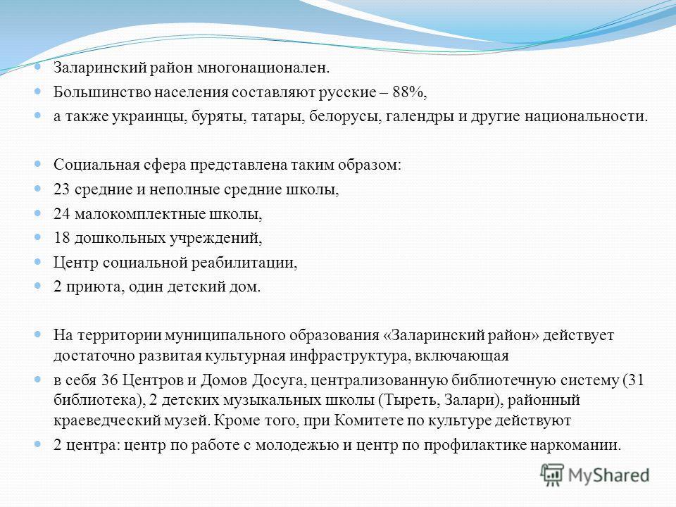 Заларинский район многонационален. Большинство населения составляют русские – 88%, а также украинцы, буряты, татары, белорусы, галендры и другие национальности. Социальная сфера представлена таким образом: 23 средние и неполные средние школы, 24 мало