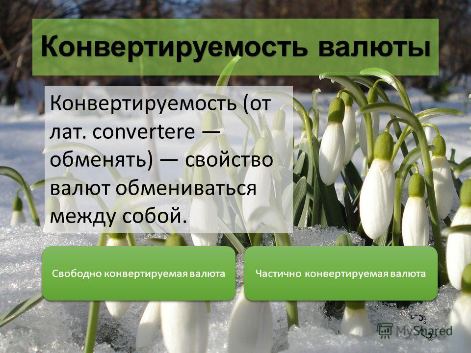 Конвертируемость валюты Конвертируемость (от лат. convertere обменять) свойство валют обмениваться между собой. Свободно конвертируемая валюта Частично конвертируемая валюта