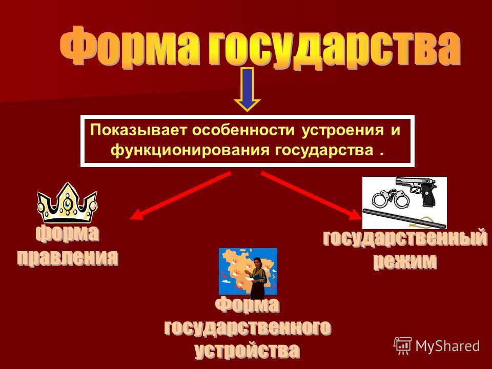 Показывает особенности устроения и функционирования государства.
