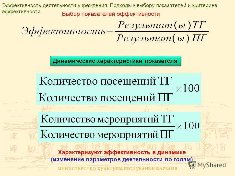 Эффективность деятельности учреждения. Подходы к выбору показателей и критериев эффективности Выбор показателей эффективности Динамические характеристики показателя Характеризуют эффективность в динамике (изменение параметров деятельности по годам)