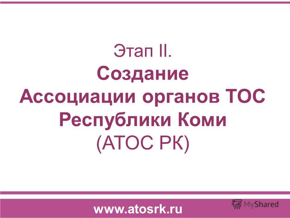 Этап II. Создание Ассоциации органов ТОС Республики Коми (АТОС РК) www.atosrk.ru