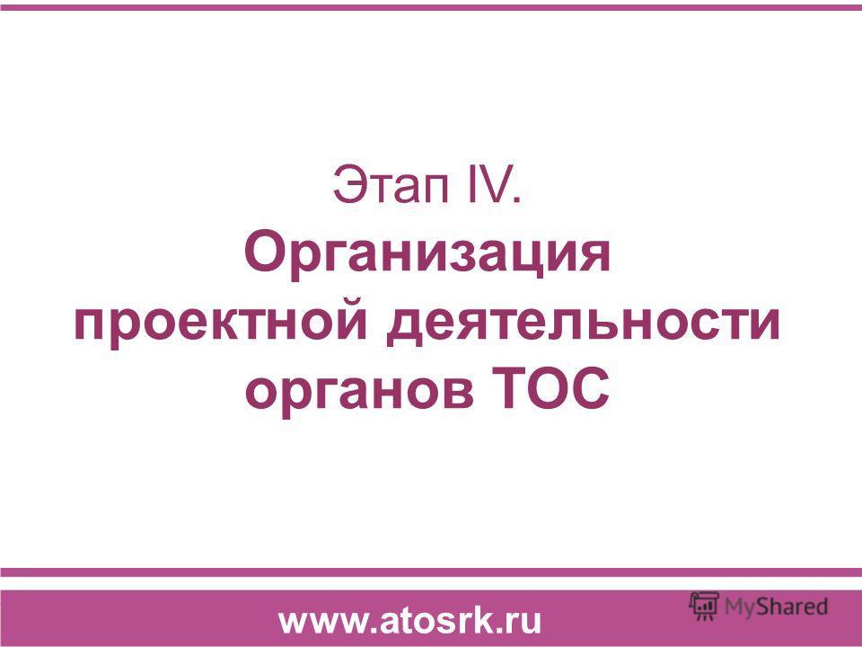 Этап IV. Организация проектной деятельности органов ТОС www.atosrk.ru