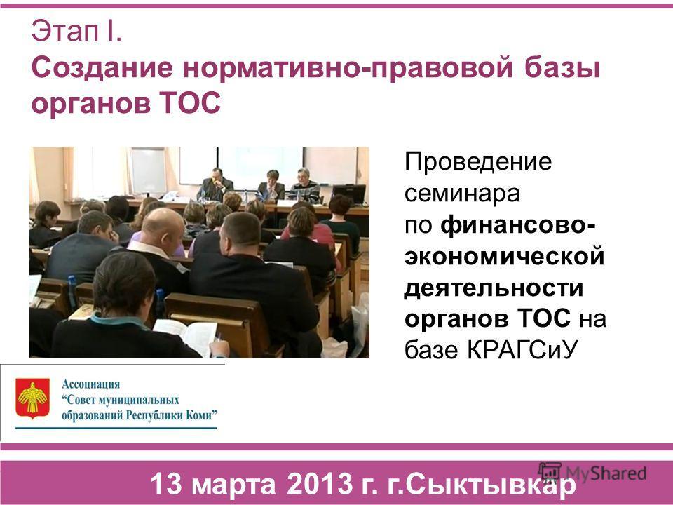 Этап I. Создание нормативно-правовой базы органов ТОС 13 марта 2013 г. г.Сыктывкар Проведение семинара по финансово- экономической деятельности органов ТОС на базе КРАГСиУ
