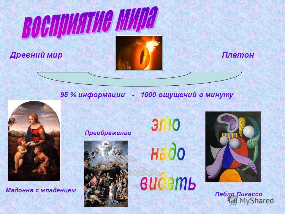 Древний мир Платон 95 % информации - 1000 ощущений в минуту Мадонна с младенцем Преображение Пабло Пикассо