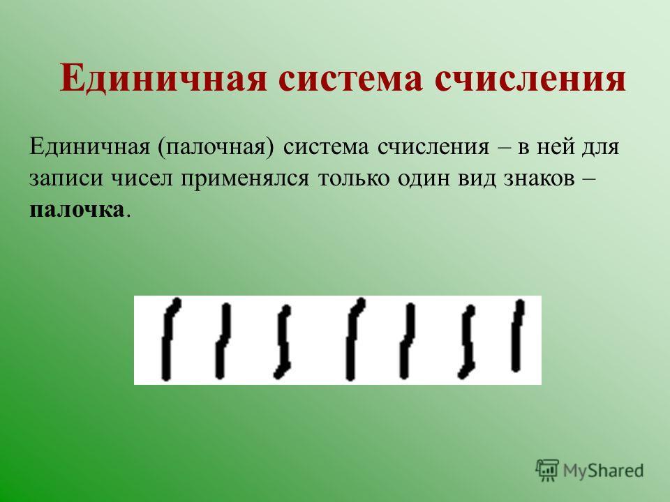 История появления систем счисления 1. Единичная система 2. Древнеегипетская десятичная непозиционная система 3. Вавилонская шестидесятеричная система 4. Римская система 5. Арабская система счисления. Появление нуля.