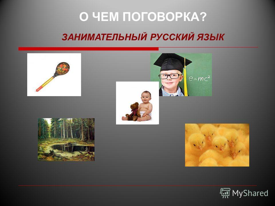 О ЧЕМ ПОГОВОРКА? ЗАНИМАТЕЛЬНЫЙ РУССКИЙ ЯЗЫК