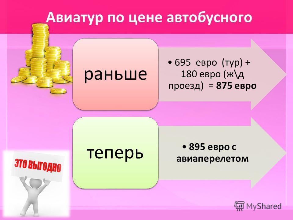 Авиатур по цене автобусного 695 евро (тур) + 180 евро (ж\д проезд) = 875 евро раньше 895 евро с авиаперелетом теперь