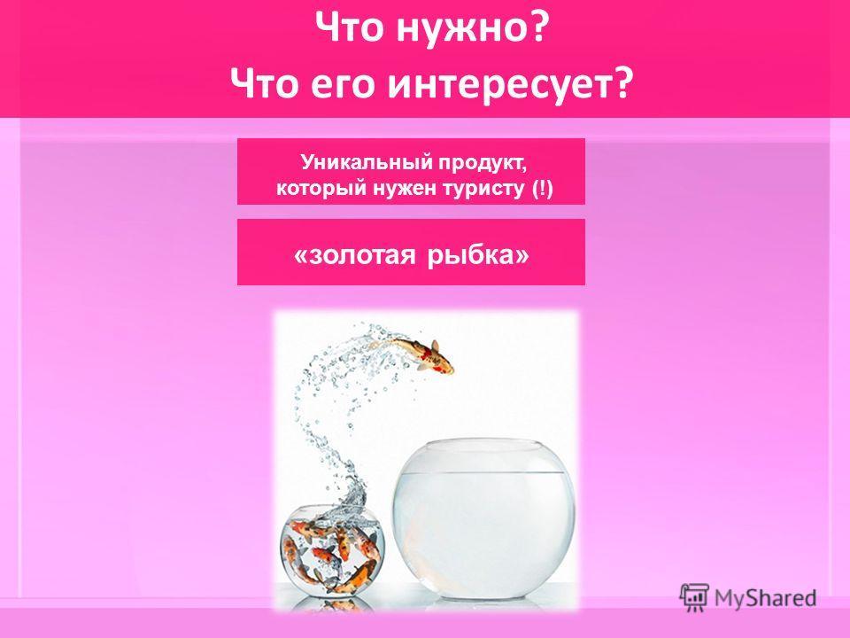 Что нужно? Что его интересует? Уникальный продукт, который нужен туристу (!) «золотая рыбка»