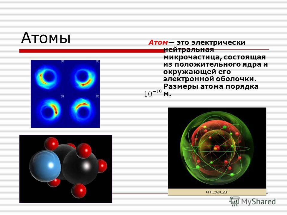 Атомы Атом это электрически нейтральная микрочастица, состоящая из положительного ядра и окружающей его электронной оболочки. Размеры атома порядка м.