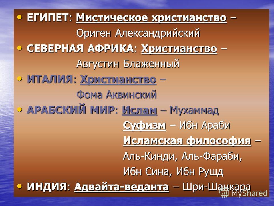 ЕГИПЕТ: Мистическое христианство – ЕГИПЕТ: Мистическое христианство – Ориген Александрийский Ориген Александрийский СЕВЕРНАЯ АФРИКА: Христианство – СЕВЕРНАЯ АФРИКА: Христианство – Августин Блаженный Августин Блаженный ИТАЛИЯ: Христианство – ИТАЛИЯ: Х