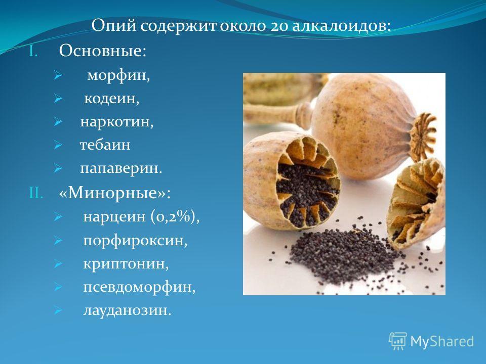 Опий содержит около 20 алкалоидов: I. Основные: морфин, кодеин, наркотин, тебаин папаверин. II. «Минорные»: нарцеин (0,2%), порфироксин, криптонин, псевдоморфин, лауданозин.