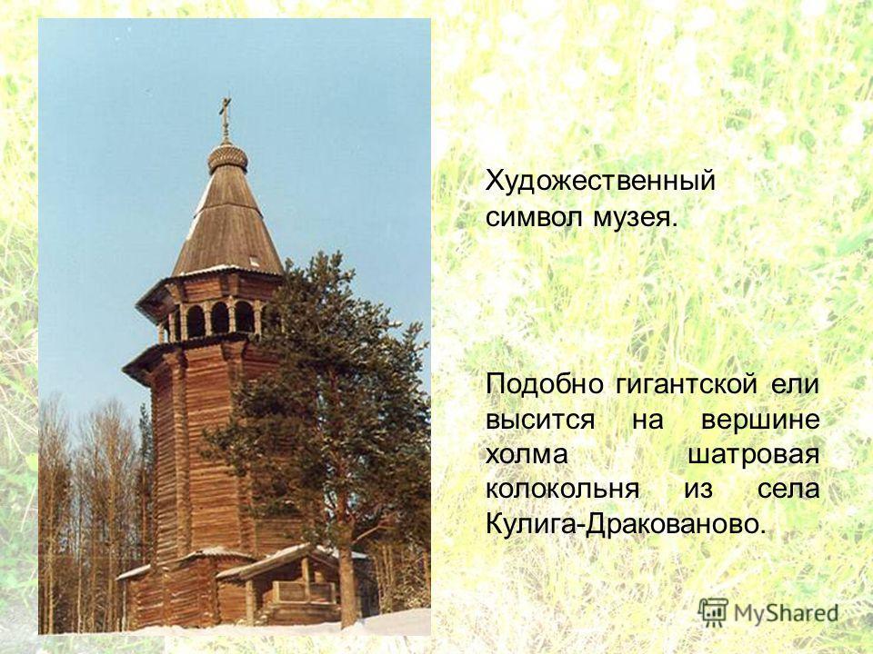 Художественный символ музея. Подобно гигантской ели высится на вершине холма шатровая колокольня из села Кулига-Дракованово.