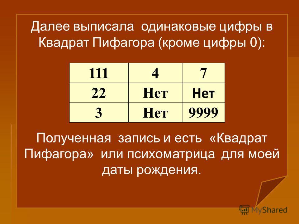 Далее выписала одинаковые цифры в Квадрат Пифагора (кроме цифры 0): Полученная запись и есть «Квадрат Пифагора» или психоматрица для моей даты рождения. 11147 22Нет 3 9999