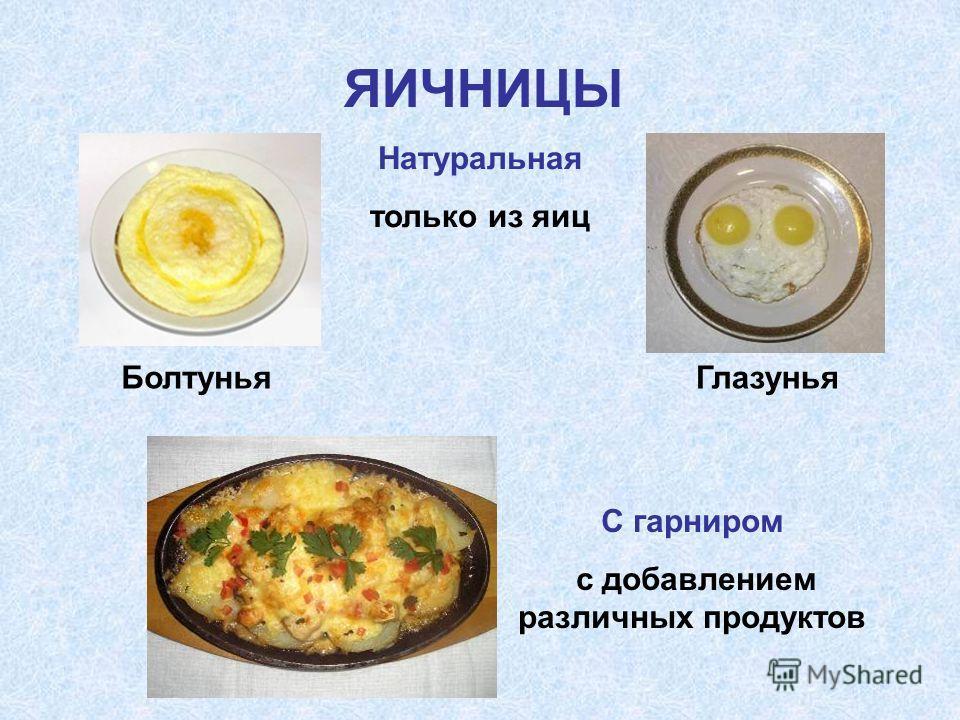 ЯИЧНИЦЫ Натуральная только из яиц С гарниром с добавлением различных продуктов Болтунья Глазунья
