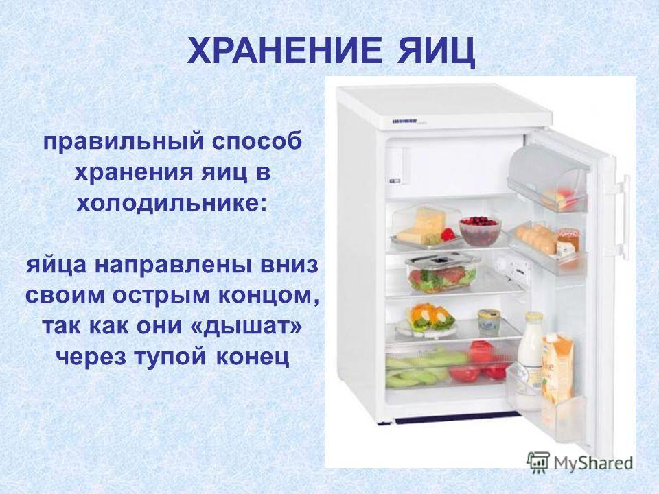 правильный способ хранения яиц в холодильнике: яйца направлены вниз своим острым концом, так как они «дышат» через тупой конец ХРАНЕНИЕ ЯИЦ