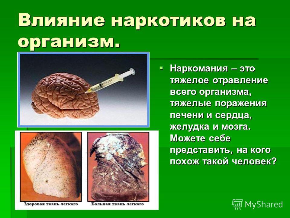 Влияние наркотиков на организм. Наркомания – это тяжелое отравление всего организма, тяжелые поражения печени и сердца, желудка и мозга. Можете себе представить, на кого похож такой человек? Наркомания – это тяжелое отравление всего организма, тяжелы