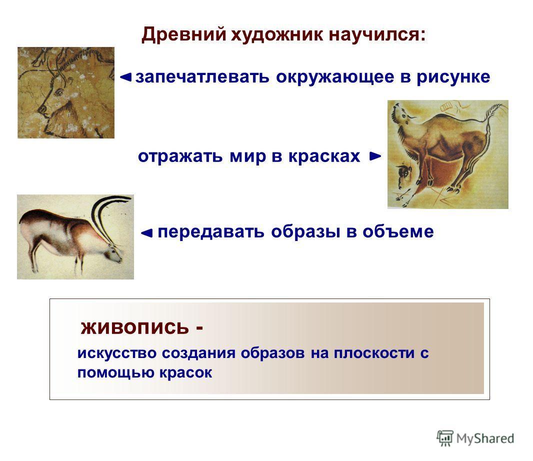 Древний художник научился: запечатлевать окружающее в рисунке отражать мир в красках передавать образы в объеме живопись - искусство создания образов на плоскости с помощью красок