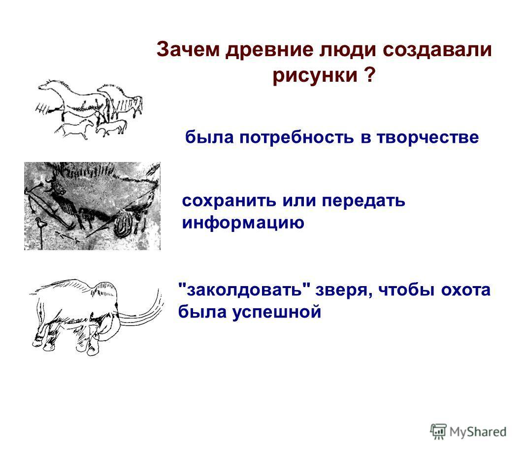 Зачем древние люди создавали рисунки ? была потребность в творчестве сохранить или передать информацию заколдовать зверя, чтобы охота была успешной