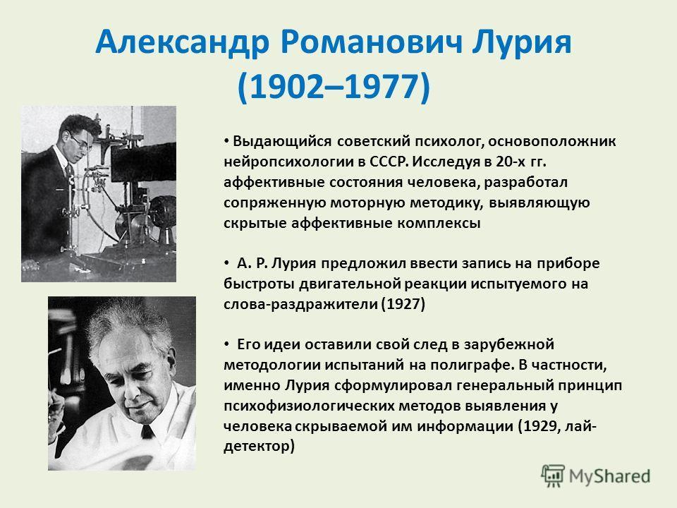 Александр Романович Лурия (1902–1977) Выдающийся советский психолог, основоположник нейропсихологии в СССР. Исследуя в 20-х гг. аффективные состояния человека, разработал сопряженную моторную методику, выявляющую скрытые аффективные комплексы А. Р. Л