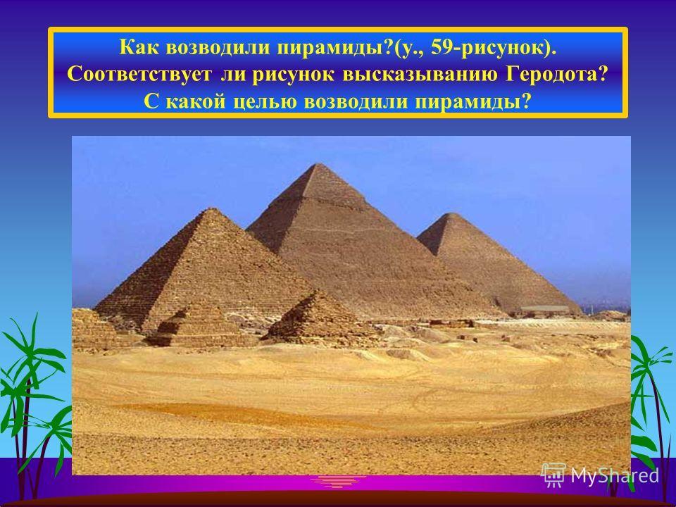 Как возводили пирамиды?(у., 59-рисунок). Соответствует ли рисунок высказыванию Геродота? С какой целью возводили пирамиды?