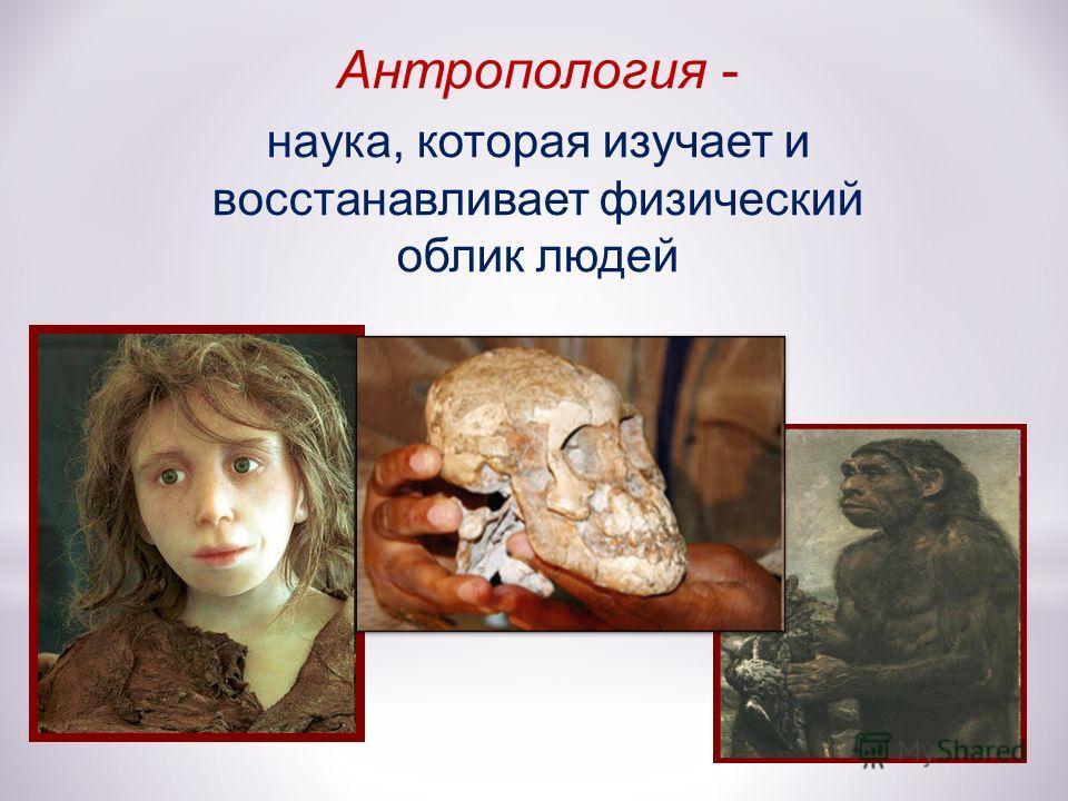 Антропология - наука, которая изучает и восстанавливает физический облик людей