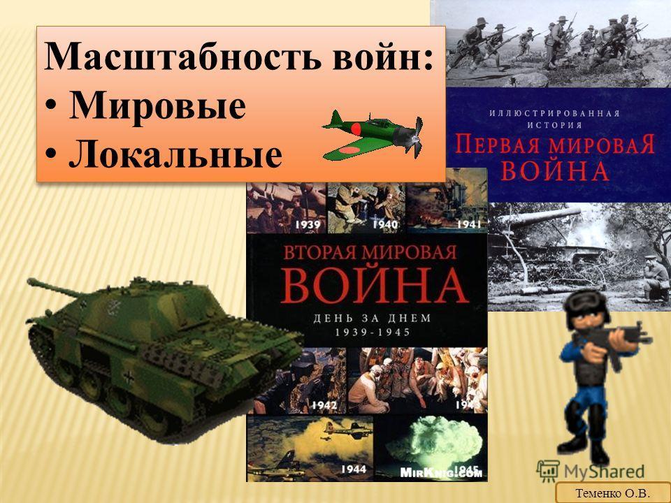 Масштабность войн: Мировые Локальные Масштабность войн: Мировые Локальные Теменко О.В.