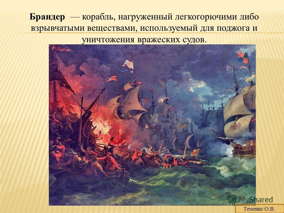 Брандер корабль, нагруженный легкогорючими либо взрывчатыми веществами, используемый для поджога и уничтожения вражеских судов. Теменко О.В.