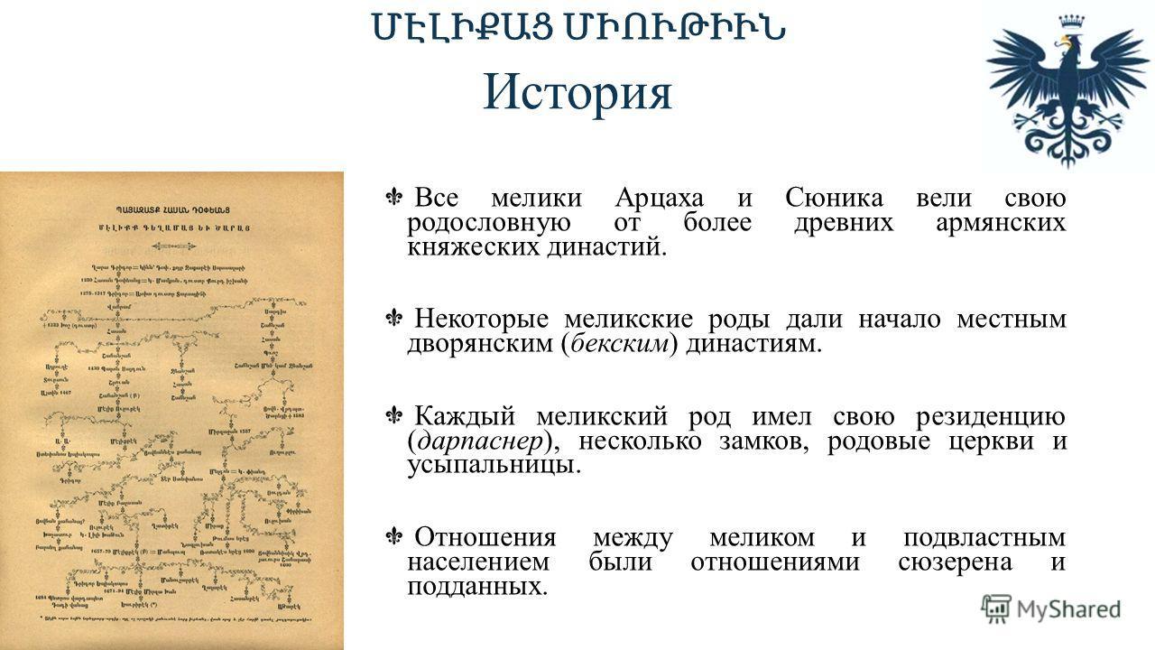 История Все мелики Арцаха и Сюника вели свою родословную от более древних армянских княжеских династий. Некоторые меликские роды дали начало местным дворянским (бекским) династиям. Каждый меликский род имел свою резиденцию (дарпаснер), несколько замк