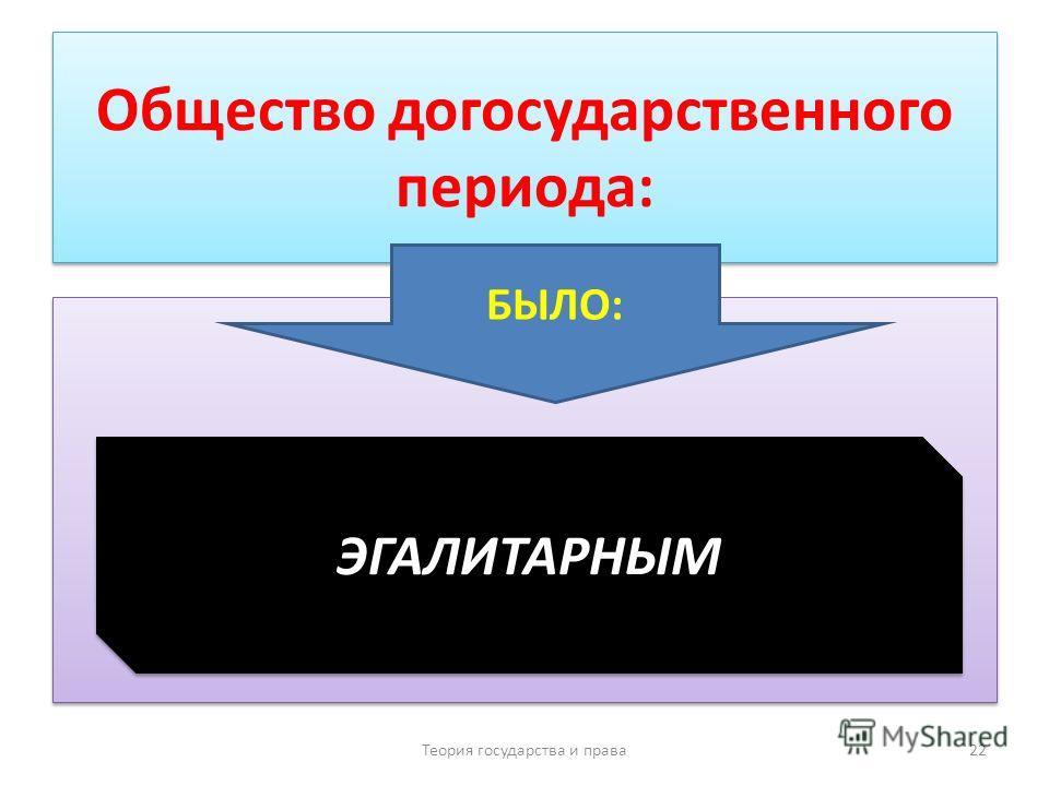 Общество догосударственного периода: Теория государства и права 22 БЫЛО: ЭГАЛИТАРНЫМ