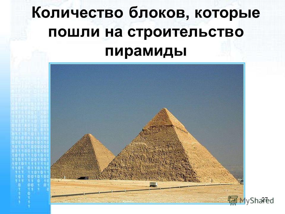 Количество блоков, которые пошли на строительство пирамиды 27