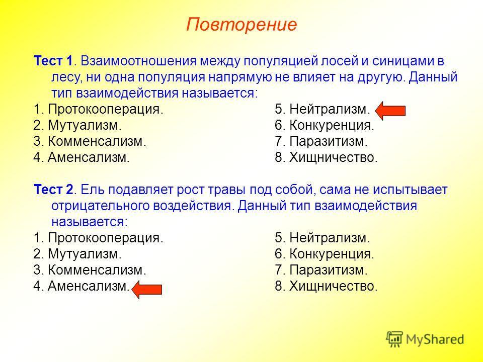 Повторение Тест 1. Взаимоотношения между популяцией лосей и синицами в лесу, ни одна популяция напрямую не влияет на другую. Данный тип взаимодействия называется: 1. Протокооперация.5. Нейтрализм. 2. Мутуализм.6. Конкуренция. 3. Комменсализм.7. Параз