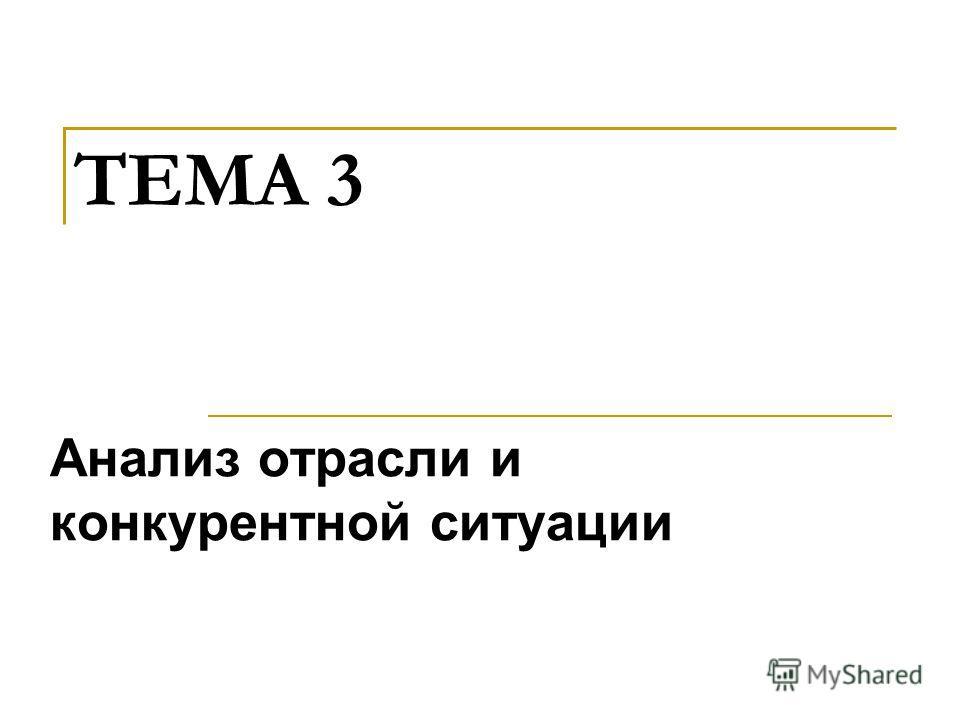 ТЕМА 3 Анализ отрасли и конкурентной ситуации