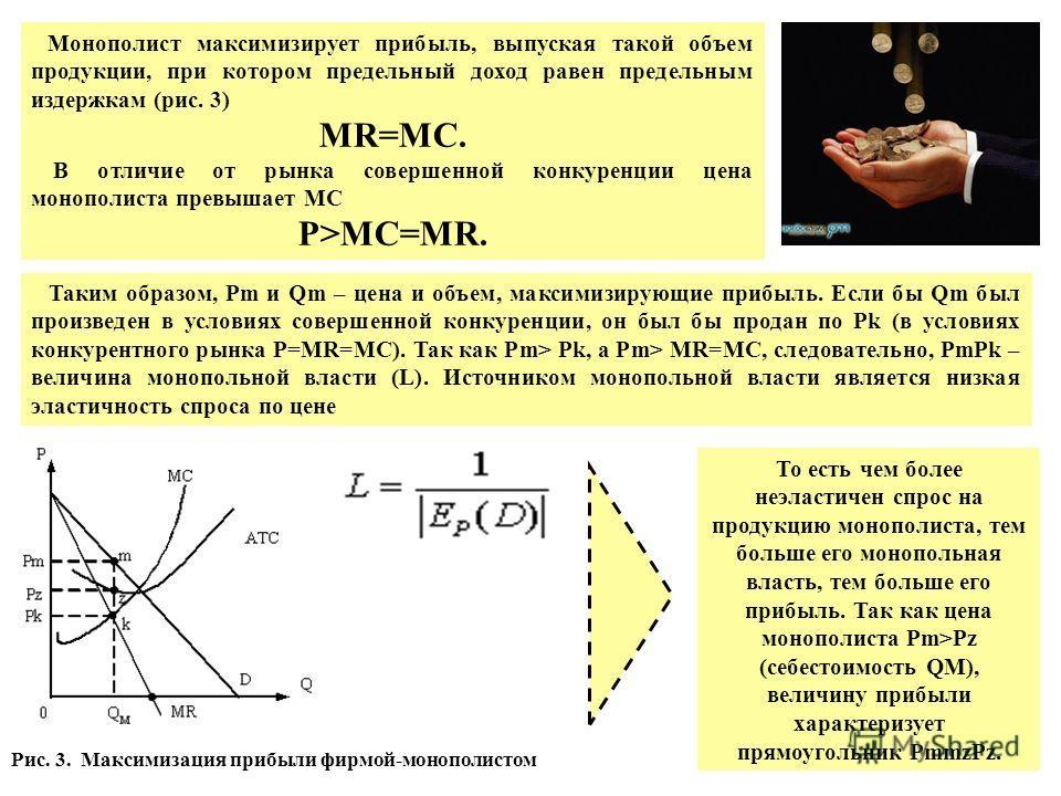 Монополист максимизирует прибыль, выпуская такой объем продукции, при котором предельный доход равен предельным издержкам (рис. 3) MR=MC. В отличие от рынка совершенной конкуренции цена монополиста превышает MC P>MC=MR. Таким образом, Pm и Qm – цена