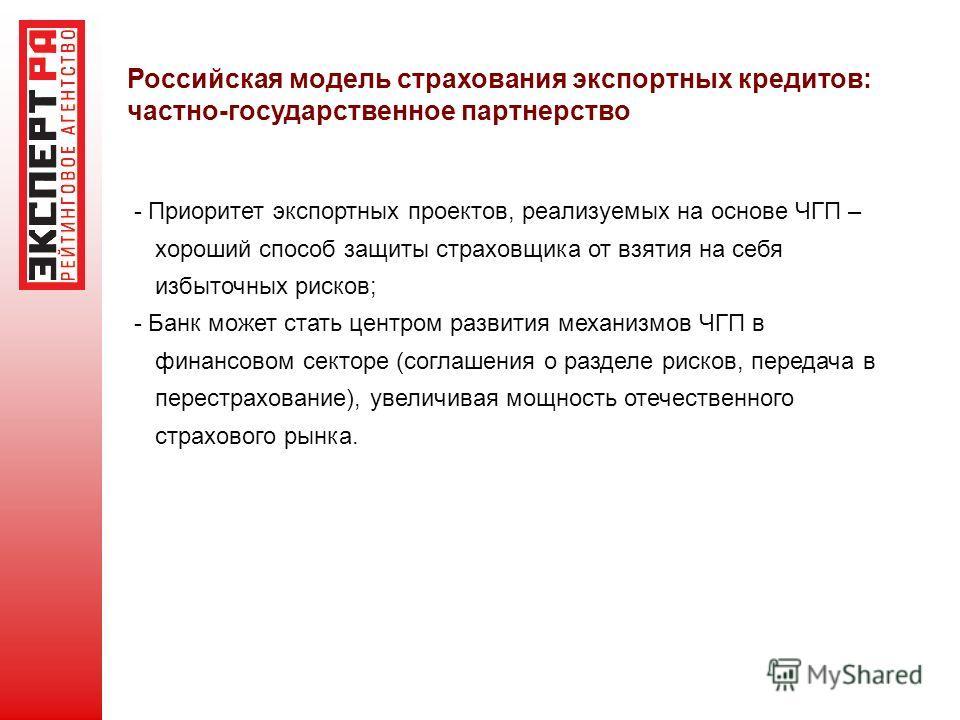 Российская модель страхования экспортных кредитов: частно-государственное партнерство - Приоритет экспортных проектов, реализуемых на основе ЧГП – хороший способ защиты страховщика от взятия на себя избыточных рисков; - Банк может стать центром разви