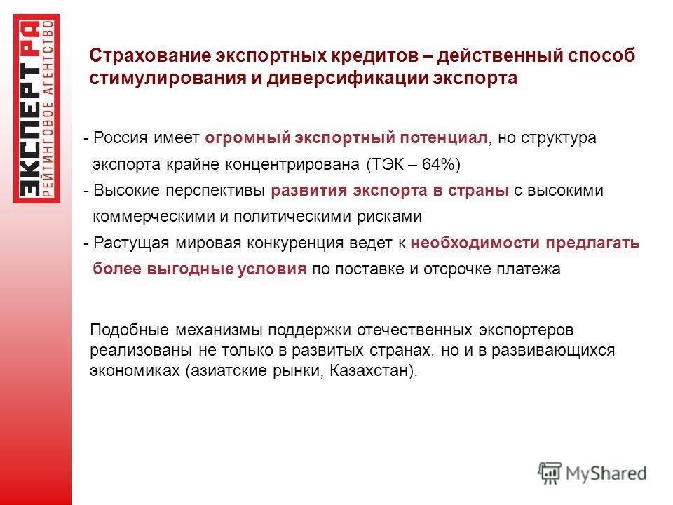 Страхование экспортных кредитов – действенный способ стимулирования и диверсификации экспорта - Россия имеет огромный экспортный потенциал, но структура экспорта крайне концентрирована (ТЭК – 64%) - Высокие перспективы развития экспорта в страны с вы