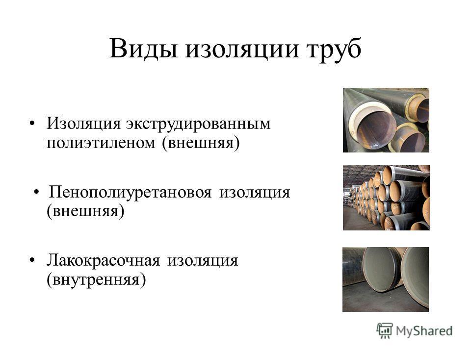 Виды изоляции труб Изоляция экструдированным полиэтиленом (внешняя) Пенополиуретановоя изоляция (внешняя) Лакокрасочная изоляция (внутренняя)