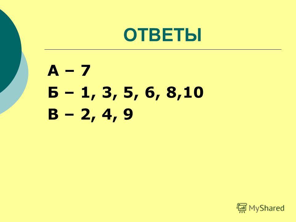 ОТВЕТЫ А – 7 Б – 1, 3, 5, 6, 8,10 В – 2, 4, 9