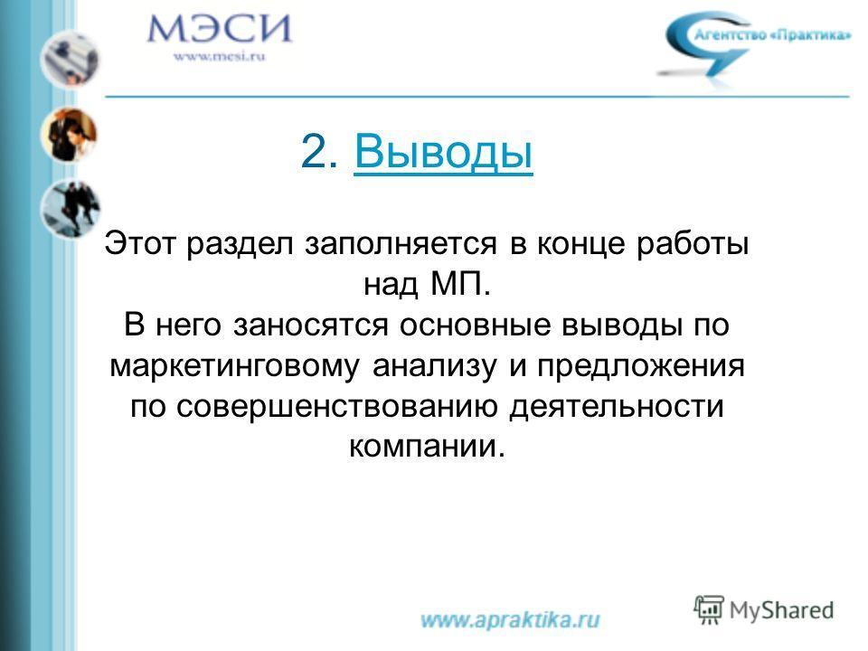 2. Выводы Выводы Этот раздел заполняется в конце работы над МП. В него заносятся основные выводы по маркетинговому анализу и предложения по совершенствованию деятельности компании.