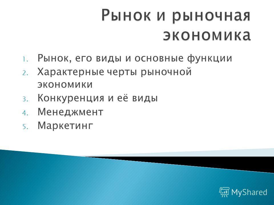 1. Рынок, его виды и основные функции 2. Характерные черты рыночной экономики 3. Конкуренция и её виды 4. Менеджмент 5. Маркетинг