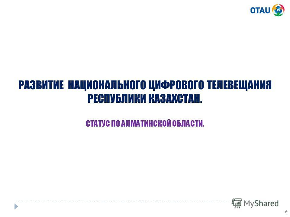 9 РАЗВИТИЕ НАЦИОНАЛЬНОГО ЦИФРОВОГО ТЕЛЕВЕЩАНИЯ РЕСПУБЛИКИ КАЗАХСТАН. СТАТУС ПО АЛМАТИНСКОЙ ОБЛАСТИ.