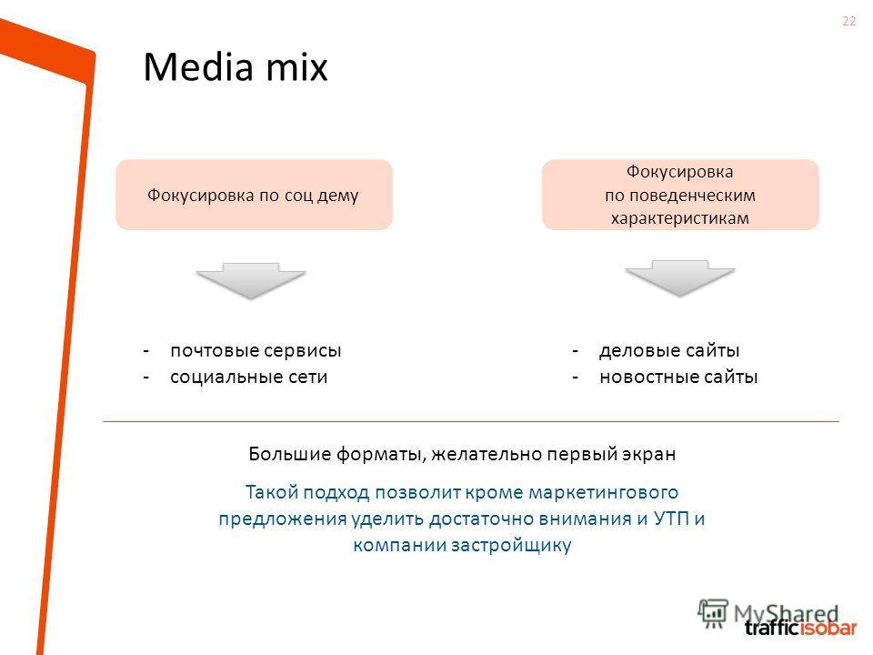22 Media mix -почтовые сервисы -социальные сети Фокусировка по соц дему Фокусировка по поведенческим характеристикам -деловые сайты -новостные сайты Большие форматы, желательно первый экран Такой подход позволит кроме маркетингового предложения удели