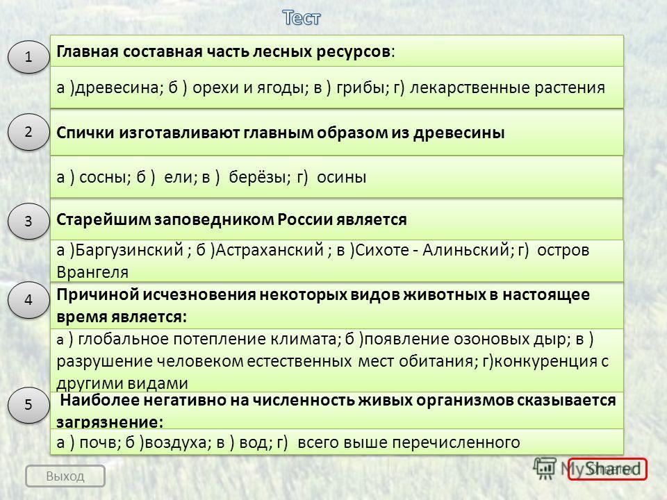 Ответы Выход Главная составная часть лесных ресурсов: Спички изготавливают главным образом из древесины Старейшим заповедником России является Причиной исчезновения некоторых видов животных в настоящее время является: 1 1 а )древесина; б ) орехи и яг