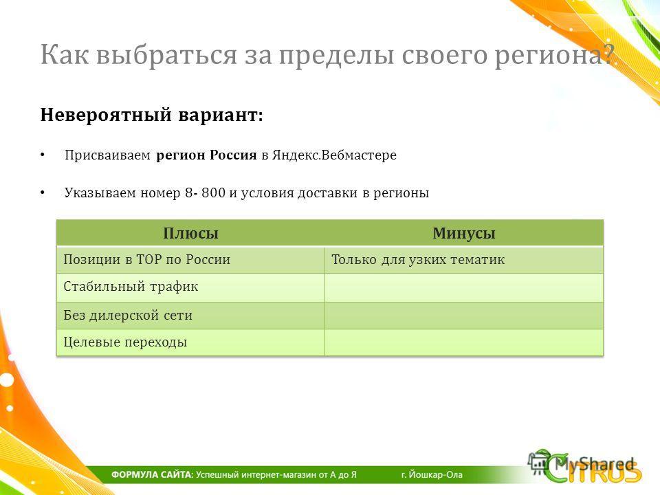 Невероятный вариант : Присваиваем регион Россия в Яндекс. Вебмастере Указываем номер 8- 800 и условия доставки в регионы Как выбраться за пределы своего региона?
