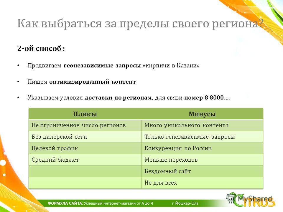 2- ой способ : Продвигаем геонезависимые запросы « кирпичи в Казани » Пишем оптимизированный контент Указываем условия доставки по регионам, для связи номер 8 8000…. Как выбраться за пределы своего региона?