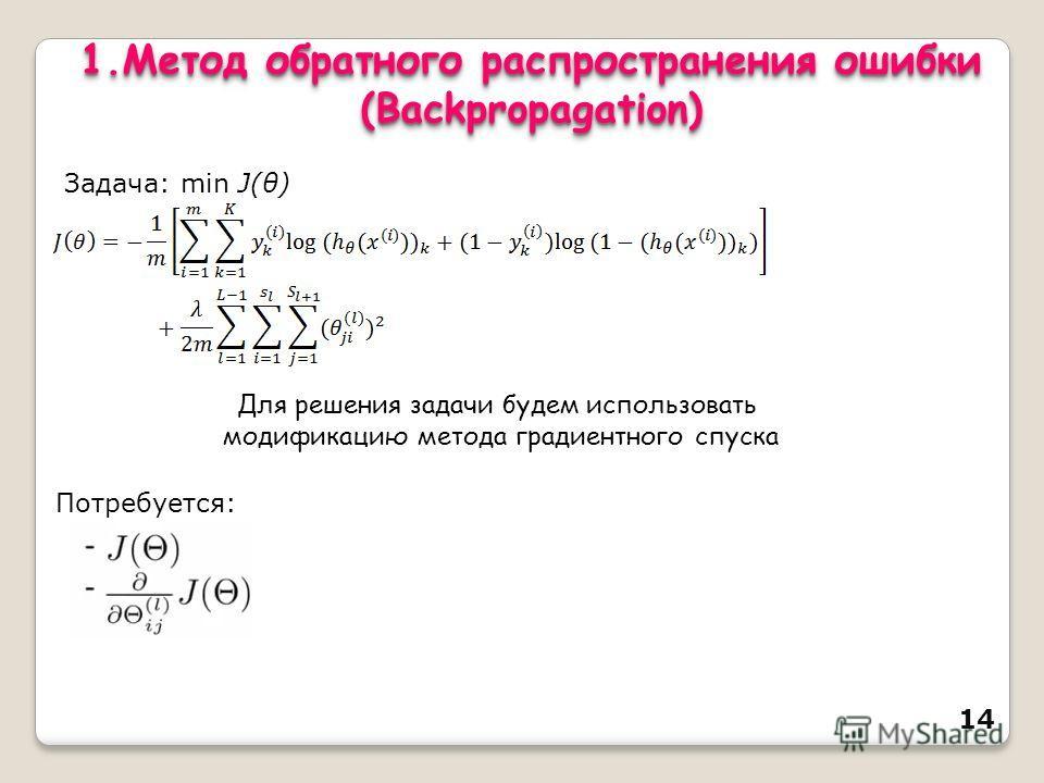 14 1. Метод обратного распространения ошибки (Backpropagation) (Backpropagation) Задача: min J(θ) Для решения задачи будем использовать модификацию метода градиентного спуска Потребуется: