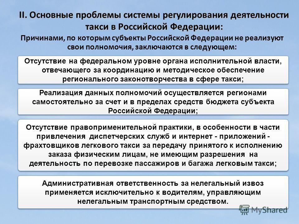 Причинами, по которым субъекты Российской Федерации не реализуют свои полномочия, заключаются в следующем: Реализация данных полномочий осуществляется регионами самостоятельно за счет и в пределах средств бюджета субъекта Российской Федерации; Отсутс