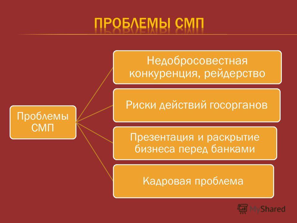 Проблемы СМП Недобросовестная конкуренция, рейдерство Риски действий госорганов Презентация и раскрытие бизнеса перед банками Кадровая проблема