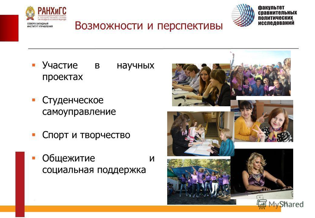 11 Возможности и перспективы Участие в научных проектах Студенческое самоуправление Спорт и творчество Общежитие и социальная поддержка