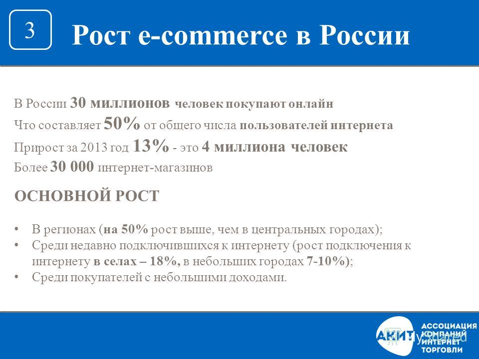 В России 30 миллионов человек покупают онлайн Что составляет 50% от общего числа пользователей интернета Прирост за 2013 год 13% - это 4 миллиона человек Более 30 000 интернет-магазинов ОСНОВНОЙ РОСТ В регионах (на 50% рост выше, чем в центральных го