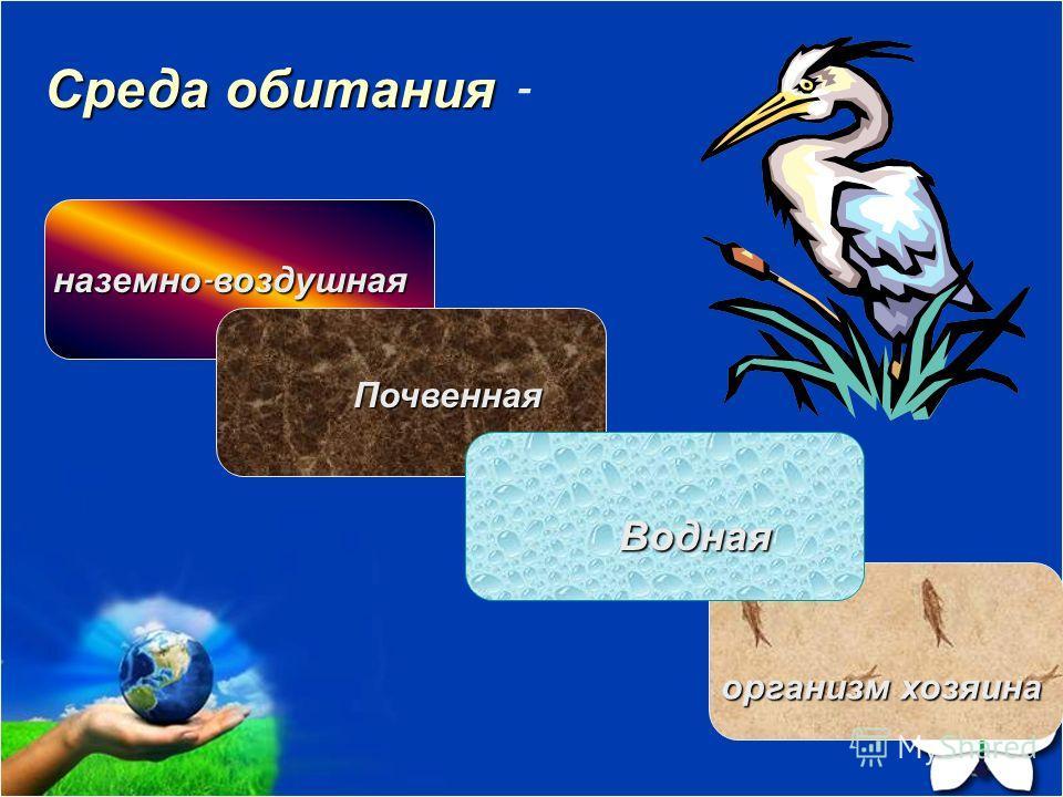 Среда обитания Среда обитания - наземно - воздушная Почвенная Водная организм хозяина